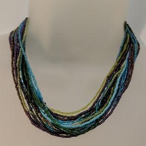 Multi strand purple blue green beaded necklace